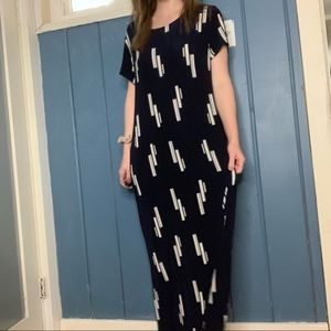 Chico's navy and white jersey maxi dress